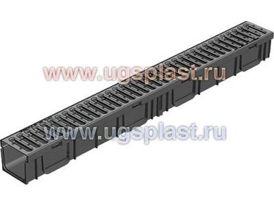 комплект Light: лоток водоотводный ЛВ-10.11,5.9,5 пластиковый с решёткой РВ -10.10,8.100 стальной оцинкованной, кл. A15 Арт.0806