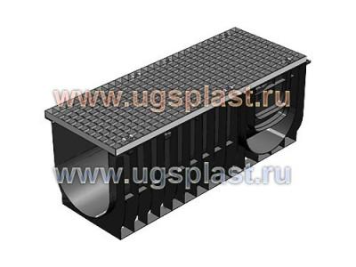 комплект Light: лоток водоотводный ЛВ-30.38.39,6 пластиковый c решёткой РВ–30.37.100 ячеистой стальной оцинкованной, кл. А15 Арт.0830А