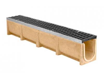 Лоток водоотводный CompoMax ЛВ-11.19.23-П полимербетонный с решёткой ячеистой чугунной ВЧ кл.Е (комплект), арт. 07104