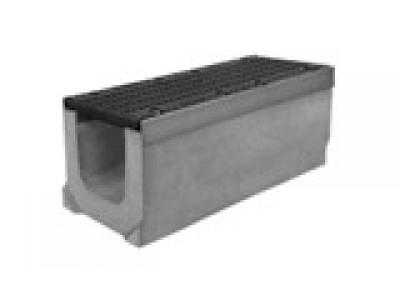 Комплект: лоток водоотводный SUPER ЛВК-30.39,9.49,5 бетонный с решеткой щелевой чугунной ВЧ