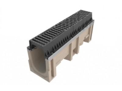 Лоток водоотводный CompoMax INTENSIV ЛВ-20.29.44-П полимербетонный с решеткой щелевой чугунной ВЧ кл.Е (комплект) 075075