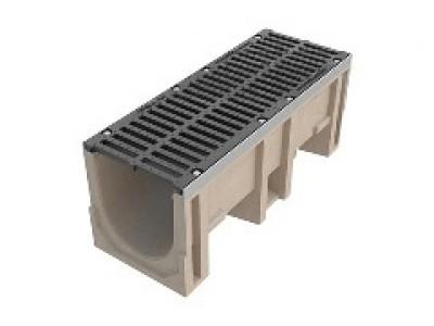 Лоток водоотводный CompoMax ЛВ–30.38.41-П полимербетонный с решёткой щелевой чугунной ВЧ кл. Е (комплект), арт. 07700