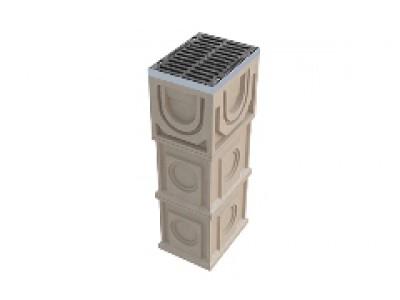 Дождеприёмный колодец секционный CompoMax ДК-30.38.44-П-В полимербетонный с решёткой щелевой чугунной ВЧ кл. E (верхняя часть, комплект), арт. 07770/1